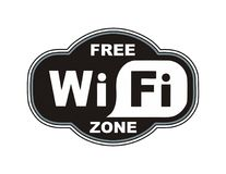 A free wifi zone sign. Wifi zone sign signal wireless spot connection bar icon network notebook black symbol vector illustration