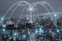 Wifipictogram en de stad van Tokyo met het concept van de netwerkverbinding, Tokyo stock illustratie