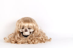 Wig of long blond hair isolated on white royalty free stock image