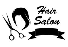 Wig and scissors on barber icon Stock Photo