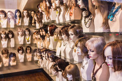 Wig shop. Shop with different types of wigs for women Stock Photography