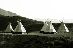 Wig Wams in Almeria - The Wild West of Europe. Wigwams in the desert of Almeria. Old style tee-pees of the indians royalty free stock images