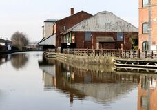 Wigan Pier Buildings on the canal. The old and vacant buildings at the Wigan Pier complex Royalty Free Stock Photography