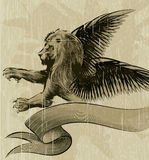 The Wiged lion. Illustration with winged lion and ribbon drawn in vintage ink style Royalty Free Stock Image