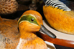 Wigeon Decoy Wooden. Drake (male)  Wigeon Decoy carved in wood Royalty Free Stock Photo