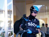 Wiggins 03. Majorca, Spain. 4th February, 2014. Skyteam cycling team rider former Tour de France 2012 winner Sir Bradley Wiggins leaves his hotel before a Royalty Free Stock Photo