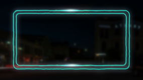 Wiggling neon frame with shines for your headline stock footage