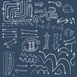 Wight doodle arrow in dark blue background. Vector illustration Stock Illustration