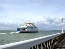 Wightlink ferry, Yarmouth, Isle of Wight. The Wightlink ferry setting off from Yarmouth to cross the Solent to Lymington Royalty Free Stock Photo