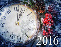 Wigilia i Nowy Rok przy północ Zdjęcie Stock