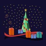 Wigilia motyw z drzewem, prezentami i gwiazdami, ilustracja wektor