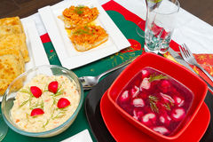 Wigilia stół z jedzeniem Fotografia Royalty Free