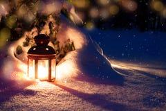 Wigilia w drewnach Lampion i drzewo zdjęcie royalty free