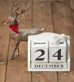Wigilii data Na kalendarzu Grudzień 24 Zdjęcia Royalty Free