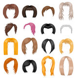 Wigs hairstyle vector illustration. Stock Images