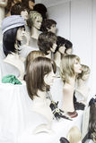 Wigs on mannequins Stock Photos
