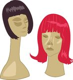 Wigs On Stands Stock Photos