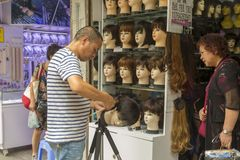 Wigs shop in old part of Shanghai, China Royalty Free Stock Photos