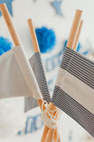 Wigwam flag. Wigwam child flag  rope on close up Stock Photos