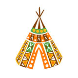 Wigwam Hut With Decorative Pattern Textile, Native Indian Culture Inspired Boho Ethnic Style Print Royalty Free Stock Photography