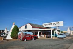 Wigwam motel on historic route 66. Holbrook, Arizona - July 23, 2017: Wigwam Motel on historic route 66 on July 23, 2017 in Holbrook, Arizona. The rooms of this royalty free stock photography