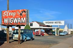 Wigwam motel on historic route 66. Holbrook, Arizona - July 23, 2017: Wigwam Motel on historic route 66 on July 23, 2017 in Holbrook, Arizona. The rooms of this royalty free stock images