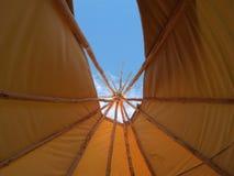 Wigwam sky. Inside a tepee looking up towards the sky Royalty Free Stock Photo