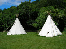 Wigwams. Two wigwams set up for camping Stock Photo