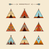 Wigwams with ornamental elements Stock Photo