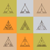 Wigwams with ornamental elements Royalty Free Stock Photos