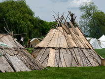 Wigwams at a re-enactment festival Stock Photo