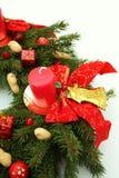 出现圣诞节装饰wih花圈 库存照片