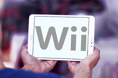 Wii logo. Logo of wii games company on samsung tablet royalty free stock photography