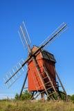 Wiindmill op Zweeds eiland Oland Royalty-vrije Stock Foto