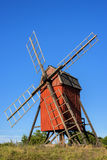 Wiindmill on Swedish island Oland Royalty Free Stock Photo