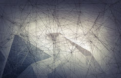 Wiire-frame mesh over gray polygonal background, 3d. Abstract digital background with wire-frame mesh over gray polygonal background, 3d illustration Royalty Free Stock Images
