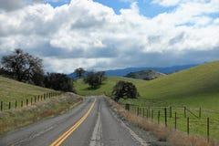 Wijąca droga i wieś w sekwoja lesie państwowym Kalifornia zdjęcia stock