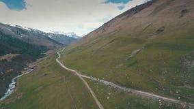 Wijąca droga w górach, góry w tle, strzela z trutniem zdjęcie wideo