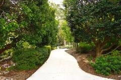 Wijąca ogrodowa droga przemian, drzewa, rośliny Obraz Stock