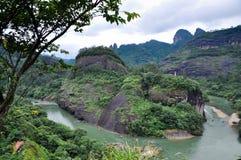 Wijąca rzeka po padający Obraz Royalty Free