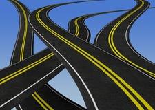 Wijące drogi krzyżuje each inny - 3D ilustracja Fotografia Royalty Free