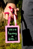 Wij hebben een Meisje - aankondigingsbericht voor het verwachten van nieuw stock foto's