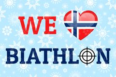 Wij houden biathlon van vectoraffiche De nationale vlag van Noorwegen Hartsymbool in traditionele Noorse kleuren Goed idee voor k stock illustratie