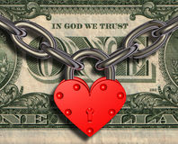 Wij houden van geld - hartslot en geld Royalty-vrije Stock Fotografie