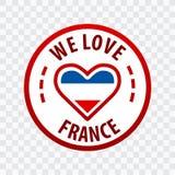 Wij houden van het Kenteken van Frankrijk Geïsoleerd op transparante achtergrond Eps10 Vector Royalty-vrije Stock Fotografie