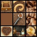 Wij houden van koffie De collage van de koffie Reclame voor de verkoop van koffie Gedetailleerde meningen van verschillende types Stock Fotografie