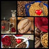 Wij houden van koffie De collage van de koffie Reclame voor de verkoop van koffie Gedetailleerde meningen van verschillende types Stock Afbeeldingen