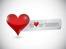 Wij houden van ons de illustratieontwerp van het klantenteken stock illustratie