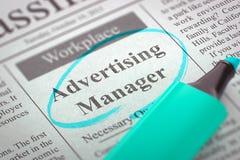 Wij huren Adverterende Manager in 3d Stock Foto