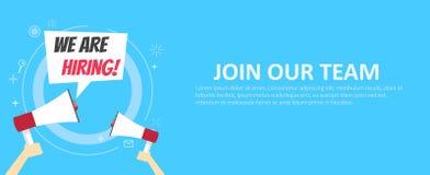 Wij huren banner Word lid van Ons Team Blauwe achtergrond en handen die een megafoon houden stock illustratie